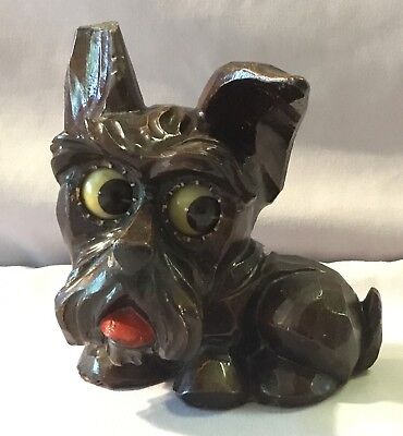 J Oswald Ges Gesch Scotty Dog Rolling Eye Animation Clock - Black Forest