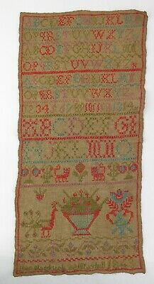 Needlework alphabet sampler Jean Blacklock 1843 (unframed)