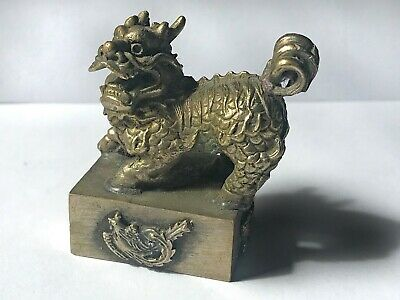 Antique Miniature Foo Dog Figurine Asian Mark Silver Butterfly Dragons Phoenix