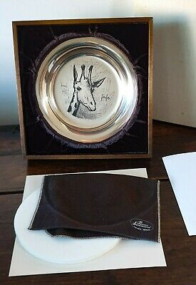 Bernard Buffet Giraffe French Plate Solid Sterling Silver Case Frame Pouch Art
