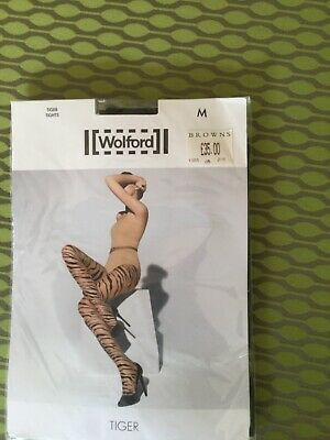 58$ Wolford Tiger Stay Up Tights Sahara//black Size Small NWT~28043~8458~reg