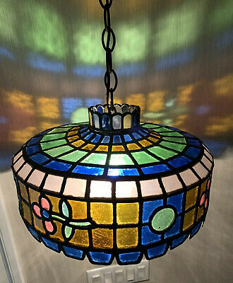 Antique Rare Stained Glass Multi Color Swag Ceiling Light Fully Working Gorgeous