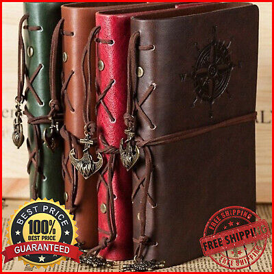 Classic Spiral Leather Notebook Vintage Diary Pirate & Anchor Design Journals