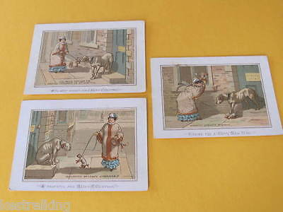 3 Lady with Dog Artist drawn H & F Greeting Christmas Cards Late 1800s