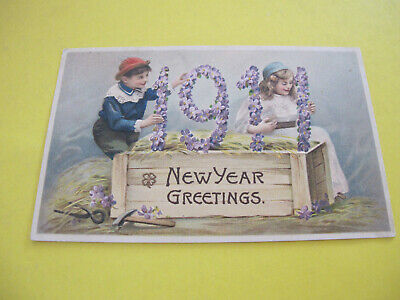 1911 Date Year Greeting Postcard