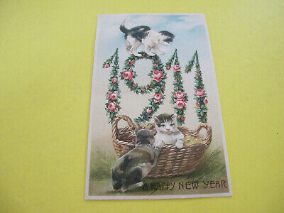 Cats 1911 Date Year Greeting Postcard