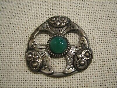 BEAUTIFUL Antique ARTS & CRAFTS Era 830 Silver OWL Brooch Pin ART NOUVEAU