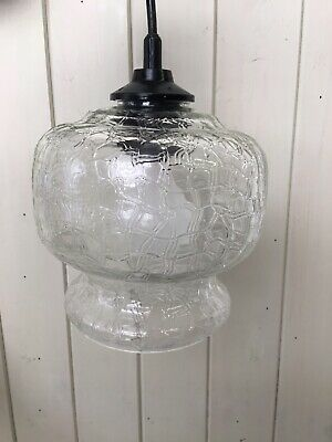 Vintage French Mid Century Glass Hanging Ceiling Light Lamp Shade Lampshade
