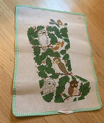 Edie and Ginger Hand-painted Needlepoint Canvas Christmas Stocking Owls & Holly