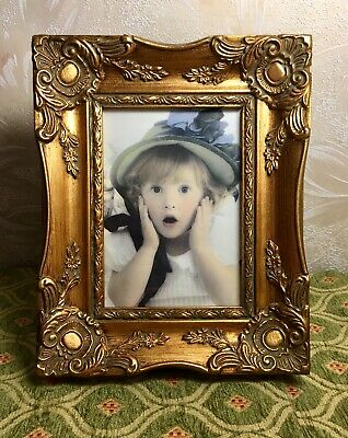 """Antique Style Vintage Wood Gesso Picture Frame Ornate Gold Rococo 5""""x7"""""""