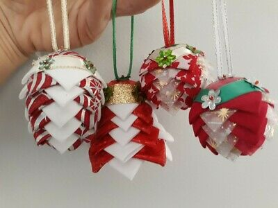 Vintage Retro Christmas Decorations Baubles Fabric Layered Gorgeous