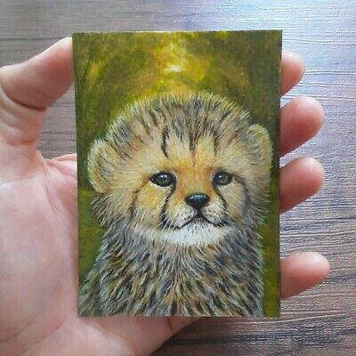 Cheetah baby aceo big cat baby forest original pen gouache acrylic drawing paint