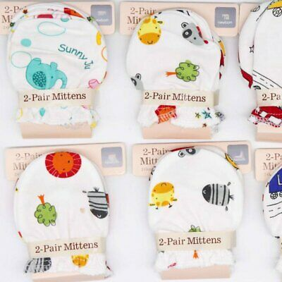 1/2/5 Pairs Quality Cotton Cute Baby Newborn Mittens Gloves for Boy and Girl SU