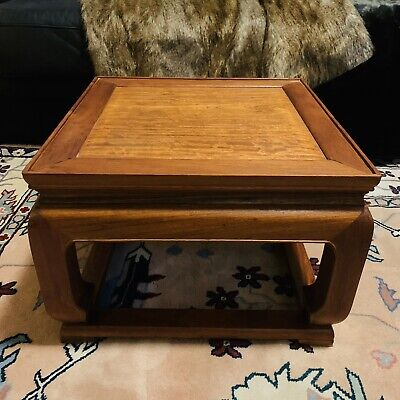"Vintage Chinese Huanghuali Wood Tea Table or Low Side Table, 17""x17""x12"""