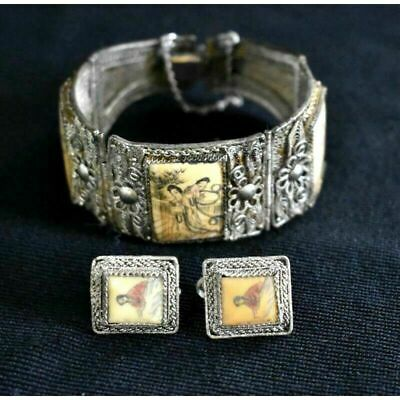 Antique Bovine Scrimshaw Sterling Silver Chinese Filigree Bracelet Set Signed