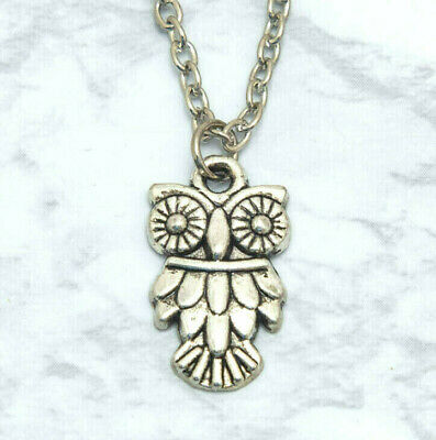 Cute Fashion Owl Bird Charm Pendant Necklace Ancient Silver Alloy 19 Inch Chain