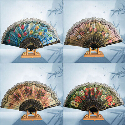 Chinese Fans Dance Wedding Party Hand Held Folding Flower Leopard Lace Fan Retro