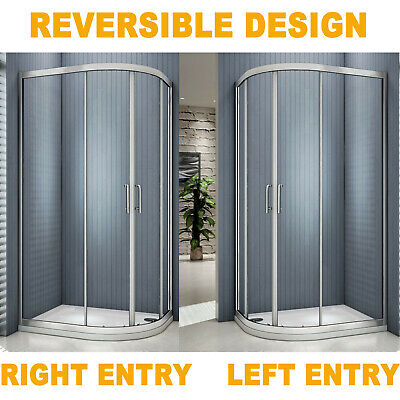 Offset Quadrant Shower Enclosure Corner Cubicle Glass Screen Door And Stone Tray