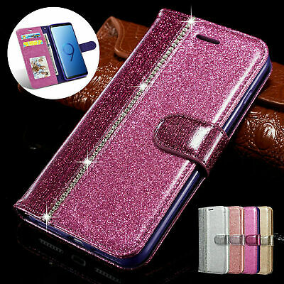 Case Cover For Samsung Galaxy S10 S9 S8 S7 Flip Leather Wallet Bling Glitter