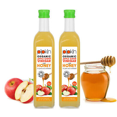 Pipkin Apple Cider Vinegar with Raw Honey & Mother 500ml Organic Pure Unfiltered