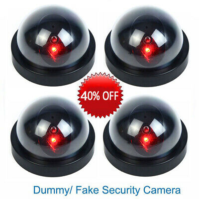 Dummy Dome Fake Surveillance Security Camera CCTV W/ Flashing Red LED Light Home