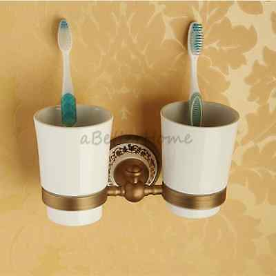Antique Brass Wall Mounted Bathroom Toothbrush Holder Set with Ceramic Tumblers