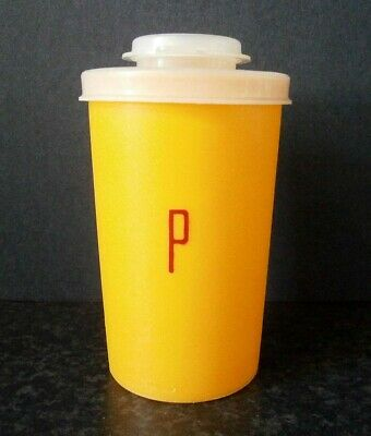 Vintage Tupperware Single Tangerine Orange Plastic Pepper Shaker Flip-Top Lid
