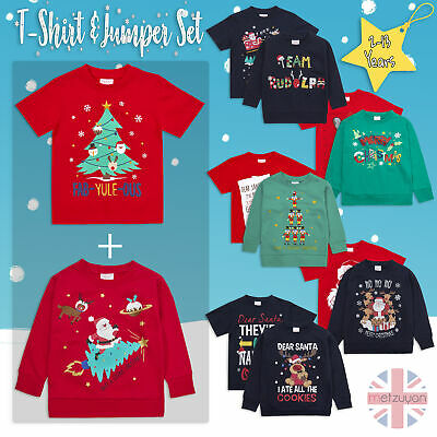 Childrens Boys Girls Xmas Jumper and T-Shirt Set Printed Chirstmas 2-13 Years