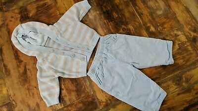 Marks & Spencer Boys Set of Hooded Cardigan & Trousers Blue & Grey Age 3 months