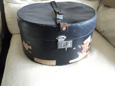 Vintage Large Black Leather Hat Box With Lock & Key Made in England