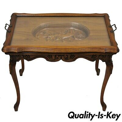 Antique French Louis XV Style Small Walnut Glass Tray Top Figural Coffee Table
