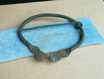 Authentic Medieval Viking Bronze Large Size Twisted Penannular Omega Brooch Rare