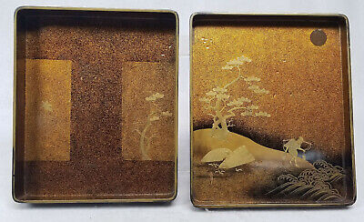 Antique Japanese Maki-e Lacquer Covered Stationary Letter Box Floral Landscape