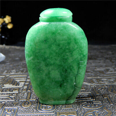 Chinese natural jade hand-carved jadeite snuff bottle Antique collection