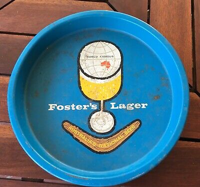 RARE VINTAGE WORLD FAMOUS FOSTERS LAGER METAL BEER DRINK TRAY 1980's