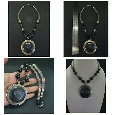 Wonderful Silver Plated Unique Necklace With Intaligo Ox Black Agate Stone #23