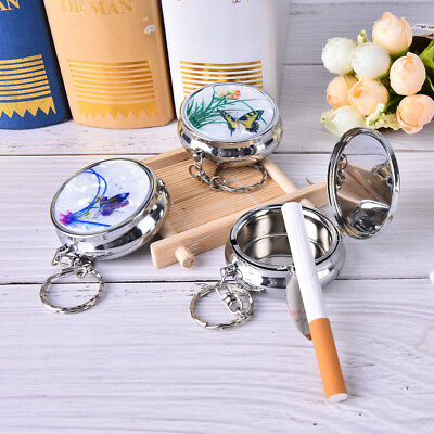 Creative Round Cigarette Keychain Portable Stainless Steel Pocket Ashtray   JP