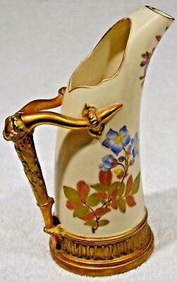 STUNNING Antique Royal Worcester Stag Horn Handle Ewer 1116   ca1889