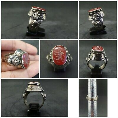 Wonderful Silver Mix Unique Ring With Intaglio Ox Red Agate Stone #23d