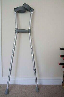 Double Adjustable Forearm Crutches Silver
