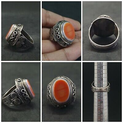 Wonderful Solid Silver Rare Ring With Sulimani Yemani Agate Stone #H76
