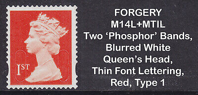 2014 Machin 1st Class Red SG U3029 FORGERY MI4L+MTIL Used Booklet Stamp Type 1