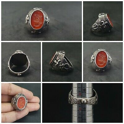 Solid Silver Unique Old Ring with King Wonderful Intaglio Red Agate Stone #J1