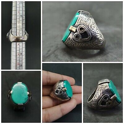 Islamic Old Silver Plated Ring With Beautiful Turquoise Stone # 3B