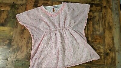 Matalan Girls Beach Top Pink & White all Over Pattern and Pom Poms Age 10 VGC