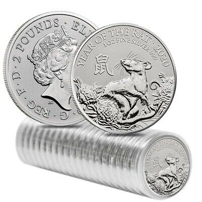 Roll of 20 - 2020 Great Britain 1 oz Silver Year of the Mouse / Rat Coin .999