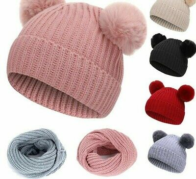 Winter Pompoms Warm Knit Hat Scarves High Quality Solid Polyester Hats Scarf Set