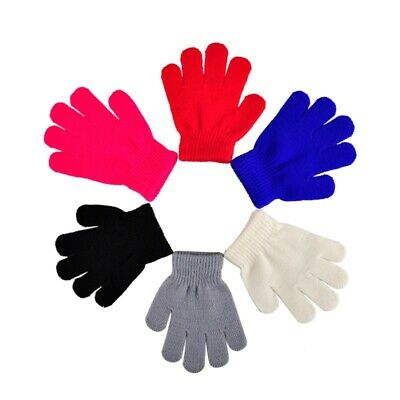 Kids Full Finger Gloves Boys Girls Stretchy Knitted Winter Warm Children Mittens