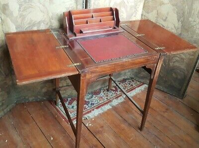 Antique METAMORPHIC Mahogany POP UP Inlaid Writing FOLDING Compact Desk Table