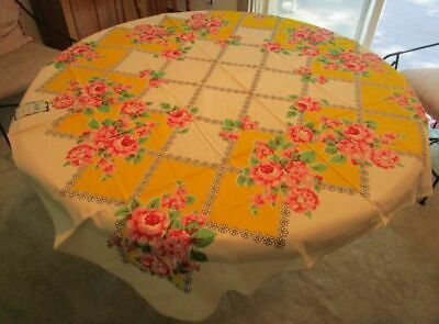Vintage Printed ML Marlene Linens Tablecloth Yellow/Pink Roses 52x52 NOSWT